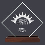 Diamond Fair, Festival & 4-H Acrylic Award Trophy w/ Walnut Base