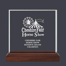 Square Fair, Festival & 4-H Acrylic Award Trophy w/ Walnut Base