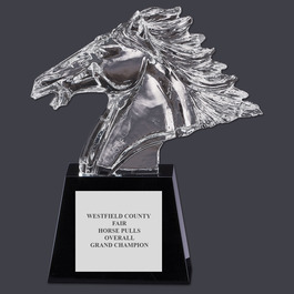 Optical Crystal Horse Head w/ Base