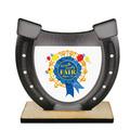 Horseshoe Shape Birchwood Fair, Festival & 4-H Award Trophy w/ Natural Birchwood Base