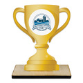 Loving Cup Shape Birchwood Fair, Festival & 4-H Award Trophy w/ Natural Birchwood Base