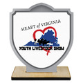 Shield Shape Birchwood Fair, Festival & 4-H Award Trophy w/ Natural Birchwood Base