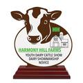 Custom Shape Birchwood Fair, Festival & 4-H Award Trophy w/ Rosewood Base