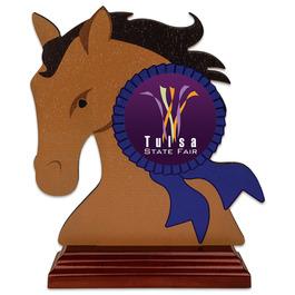 Horse Head Shape Birchwood Fair, Festival & 4-H Award Trophy w/ Rosewood Base