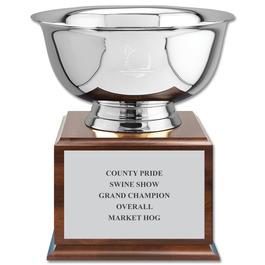 Revere Bowl Fair, Festival & 4-H Award Trophy w/ Cherry Base