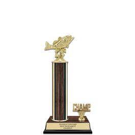 """12"""" Walnut Finished Fair, Festival & 4-H Award Trophy w/ Trim"""