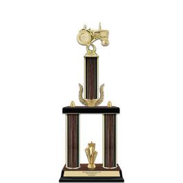 """20"""" Walnut Finished Fair, Festival & 4-H Award Trophy w/ Wreath & Trim"""
