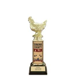 "10"" Black HS Base Fair, Festival & 4-H Award Trophy w/ Custom Column"