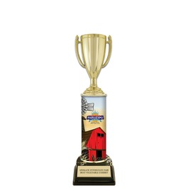 "11"" Black HS Base Fair, Festival & 4-H Award Trophy w/ Custom Column"
