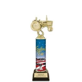 "12"" Black HS Base Fair, Festival & 4-H Award Trophy w/ Custom Column"