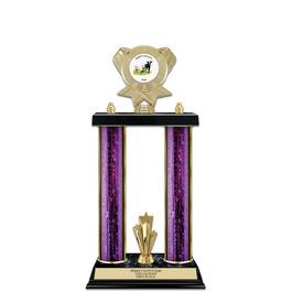 "15"" Black Finished Fair, Festival & 4-H Award Trophy w/ Trim & Insert Top"