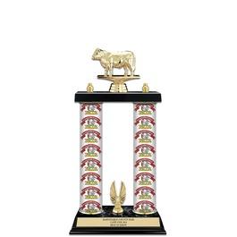 """15"""" Black Finished Fair, Festival & 4-H Award Trophy w/ Custom Column, & Trim"""