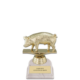 "5-1/2"" White HS Base Fair, Festival & 4-H Award Trophy"