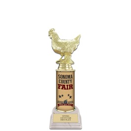 "10"" White HS Base Fair, Festival & 4-H Award Trophy w/ Custom Column"