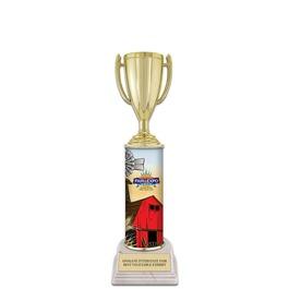 "11"" White HS Base Fair, Festival & 4-H Award Trophy w/ Custom Column"