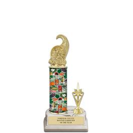"""11"""" White HS Base Fair, Festival & 4-H Award Trophy w/ Trim"""