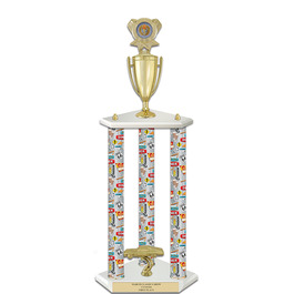 "26""  White Finished Fair, Festival & 4-H Award Trophy w/ Insert Top"