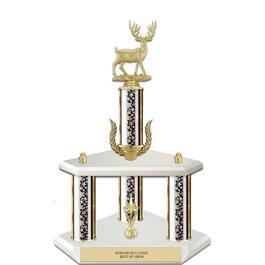 """15"""" White Finished Fair, Festival & 4-H Award Trophy w/ Wreath & Trim"""