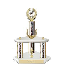 "15"" White Finished Fair, Festival & 4-H Award Trophy w/ Wreath, Trim & Insert Top"