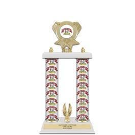"15"" White Trophy w/ Custom Column, Trim & Insert Top"