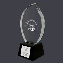 Optical Crystal Faceted Flame Horse Show Trophy w/ Black Optical Crystal Base
