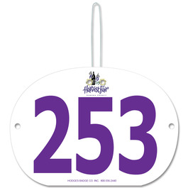 Custom Large Oval Fair, Festival & 4-H Exhibitor Number w/ Hook
