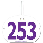 Large Oval Fair, Festival & 4-H Award Exhibitor Number w/ hook