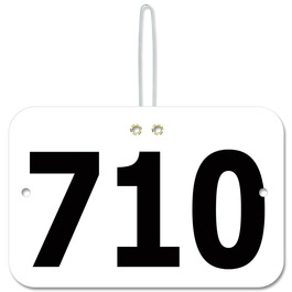 Stock Large Rectangular Fair, Festival & 4-H Exhibitor Number w/ Hook