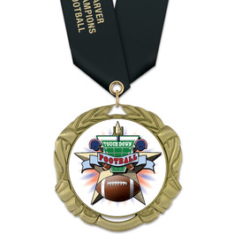 XBX Football Award Medal w/ Satin Neck Ribbon