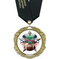XBX Football Award Medal w/ Satin Neck Ribbon