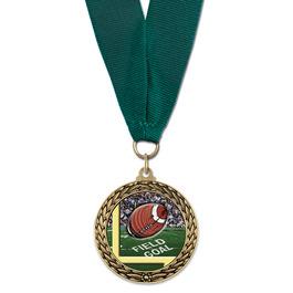 LFL Football Award Medal w/ Grosgrain Neck Ribbon