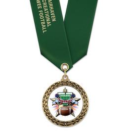 LFL Football Award Medal w/ Satin Neck Ribbon