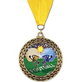 GFL Football Award Medal w/ Grosgrain Neck Ribbon