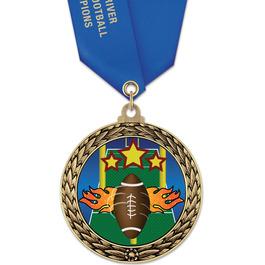 GFL Football Award Medal w/ Satin Neck Ribbon