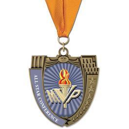 MS14 Mega Shield Football Award Medal w/ Any Grosgrain Neck Ribbon