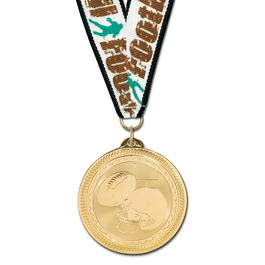 BL Football Award Medal w/ Grosgrain Neck Ribbon