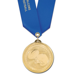 BL Football Award Medal w/ Satin Neck Ribbon