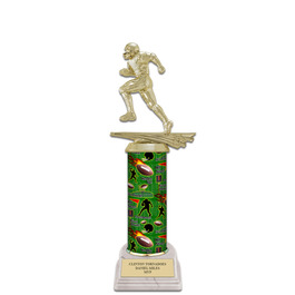 "11"" White HS Base Football Award Trophy"