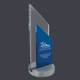 Blue and Clear Glass Peak Award Trophy