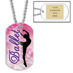 Personalized Ballet Dancer Dog Tag w/ Engraved Plate
