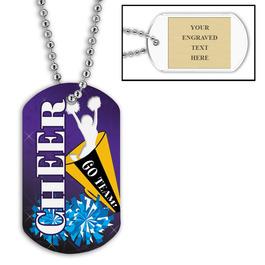 Cheerleader Dog Tag w/ Engraved Plate