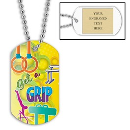 Personalized Get A Grip Gymnastics Dog Tag w/ Engraved Plate