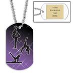 Personalized Female Gymnastics Dog Tag w/ Engraved Plate