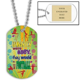 Personalized Gym Football Dog Tag w/ Engraved Plate
