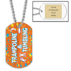 Personalized Trampoline & Tumbling Dog Tag w/ Engraved Plate