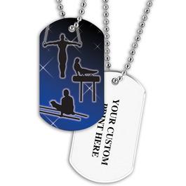 Personalized Male Gymnastics Dog Tag w/ Print on Back