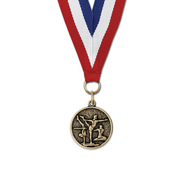 CX Gymnastics, Cheer & Dance Award Medal w/ Red/White/Blue or Year Grosgrain Neck Ribbon