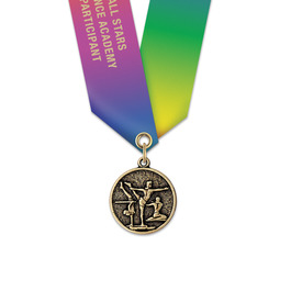 CX Gymnastics, Cheer & Dance Award Medal w/ Specialty Satin Neck Ribbon