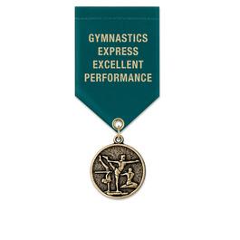 CX Gymnastics, Cheer & Dance Award Medal w/ Satin Drape Ribbon