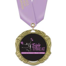 XBX Gymnastics, Cheer & Dance Award Medal w/ Satin Neck Ribbon
